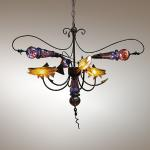 "Prince Nymph Chandelier Original Hand Blown Glass & Steel 42""x42""x60"""