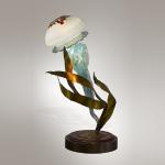 "Medusa Aqua Original Hand Blown Glass & Stainless Steel 12""x12""x20"" Jellyfish table lamp"